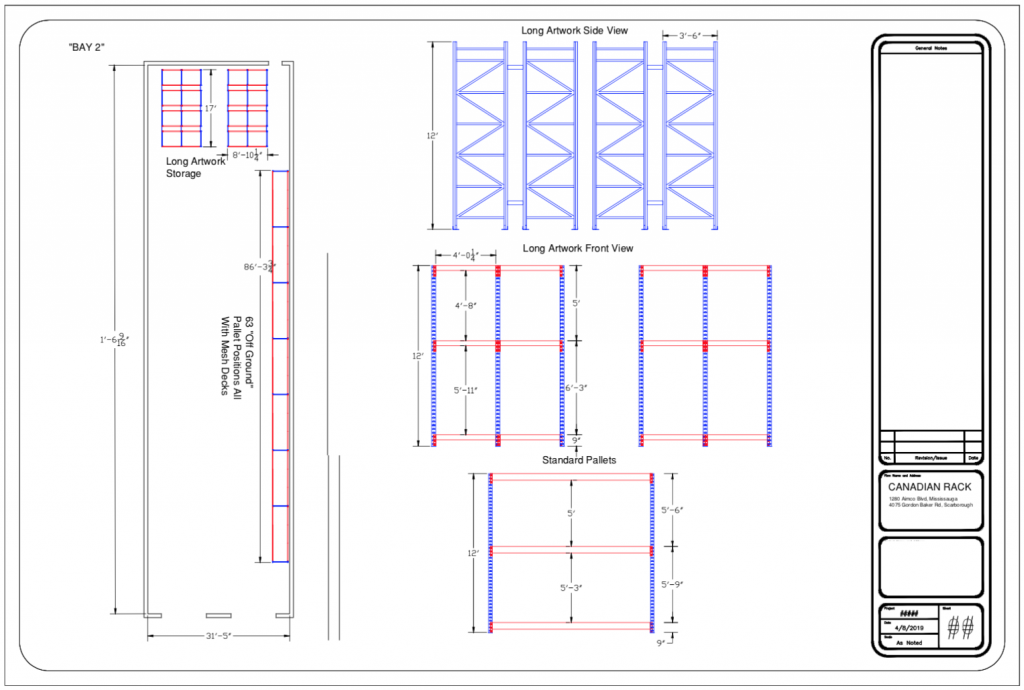 Pallet racking design - blue prints - drawing