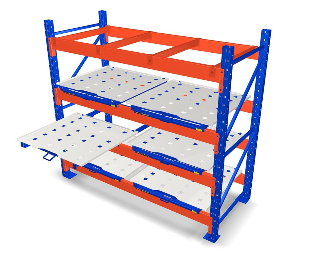 Roll-Out Racks in a Warehouse